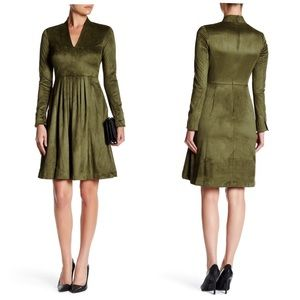 Catherine Malandrino Faux Suede Fit & Flare Dress